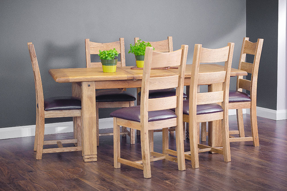 1.4m Ext Dining Table with 6 PU chairs.j