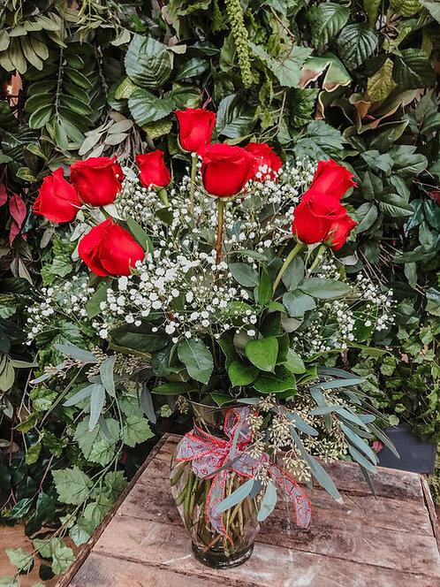 Dozen Medium Stem Red Roses with Fillers
