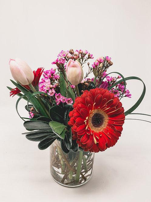 Tulip and Gerbera Daisy Arrangement