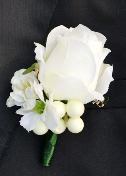 All White Boutonniere