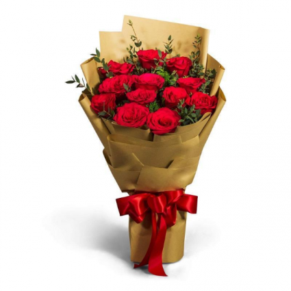 Dozen Wrapped Roses with Bow
