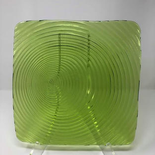 SQUARE GREEN GLASS SWIRL CHARGER - $5/EA