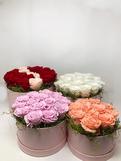 Pink Hat Box Forever Roses