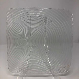 SQUARE CLEAR GLASS SWIRL CHARGER - $5/EA