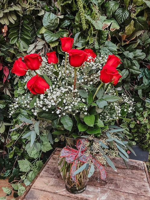 Dozen Red Roses and Baby's Breath