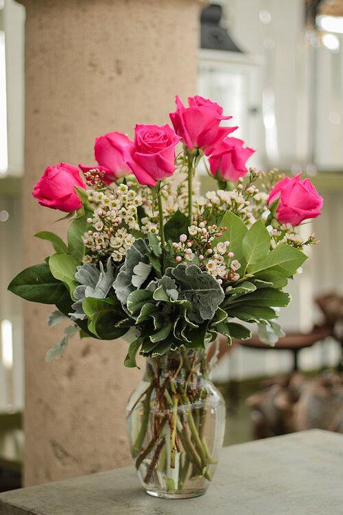 Half Dozen Roses Vased