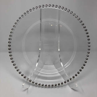 SILVER BEADED GLASS CHARGER - $5/EA