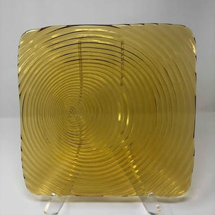 SQUARE AMBER GLASS SWIRL CHARGER - $5/EA