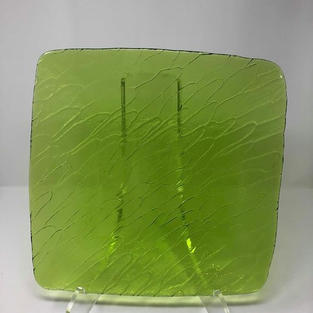 SQUARE GREEN GLASS TEXTURED CHARGER - $5/EA