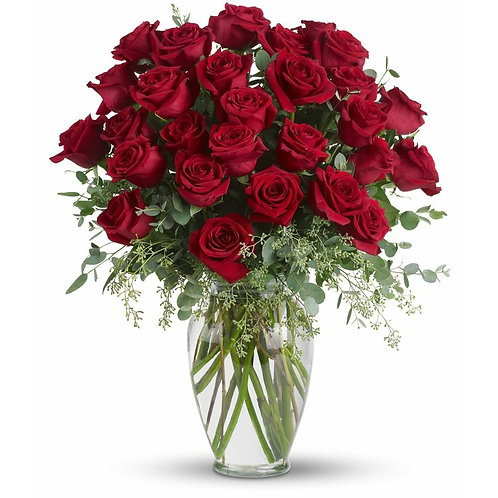 Two Dozen Platinum Ruby Red Roses