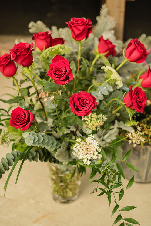 Dozen Roses with Assorted Greens