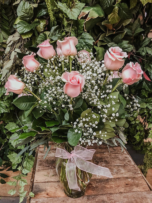 Dozen Pink Roses and Baby's Breath