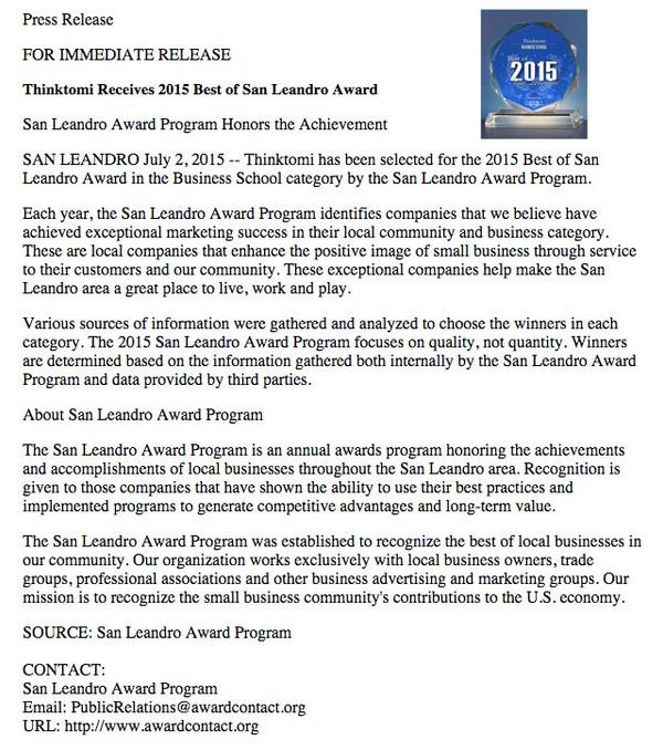 Thinktomi Receives 2015 Best of San Leandro Award