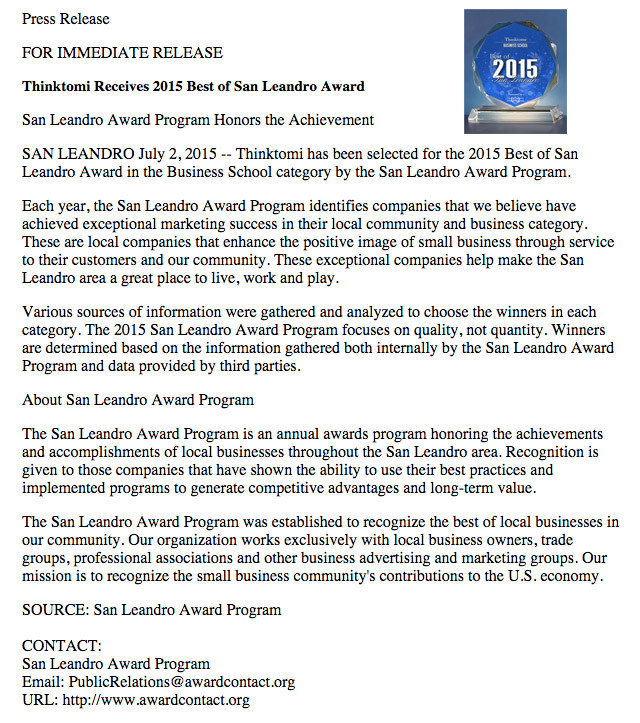 Thinktomi receives 2015 Best Business San Leandro School District.jpg