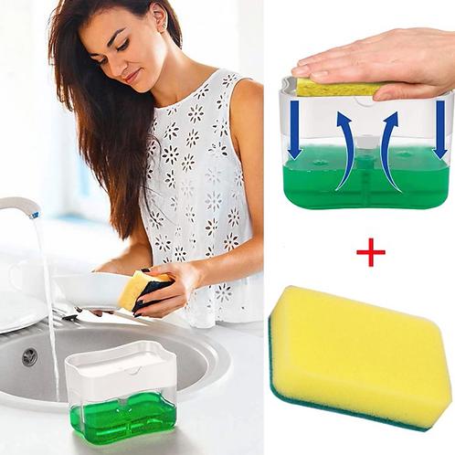 Distributeur savon + éponge