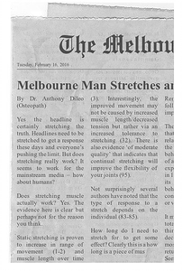 Article about the evidence behind stretching, by Osteopath Anthony Dileo