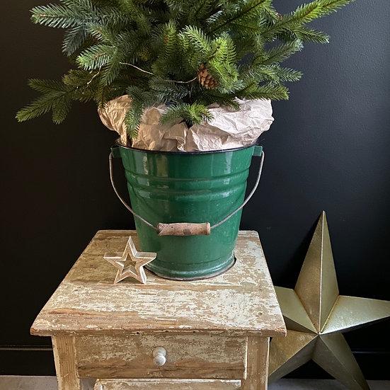 Vintage Green Enamel Bucket #4