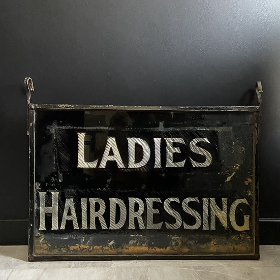 Glorious 1930's Double Sided Glass Sign