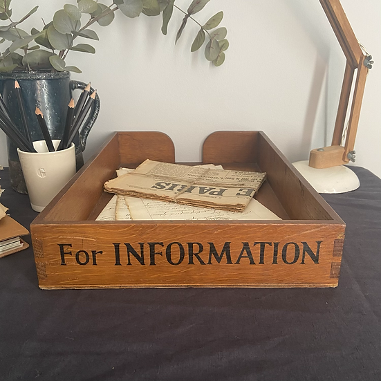 """Rare Oak Filing Tray """"FOR INFORMATION"""""""