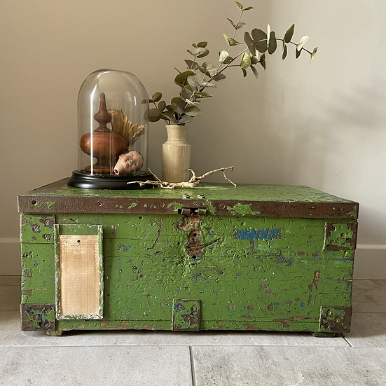 Green Chippy Paint Vintage Trunk