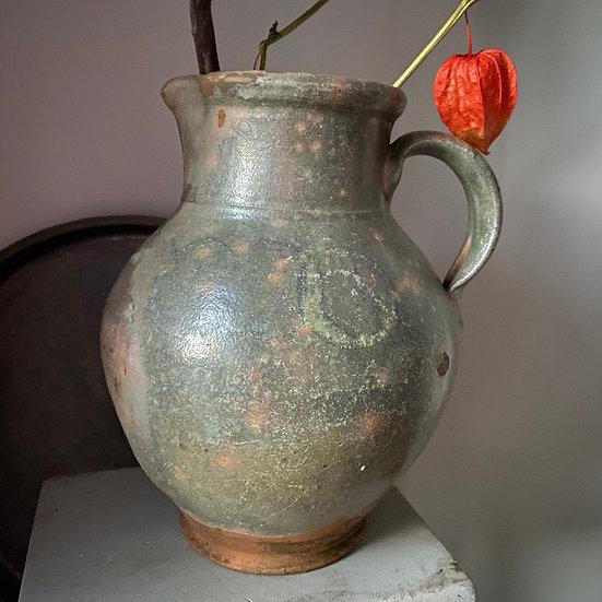 Vintage Bulgarian Glazed Terracotta Jug