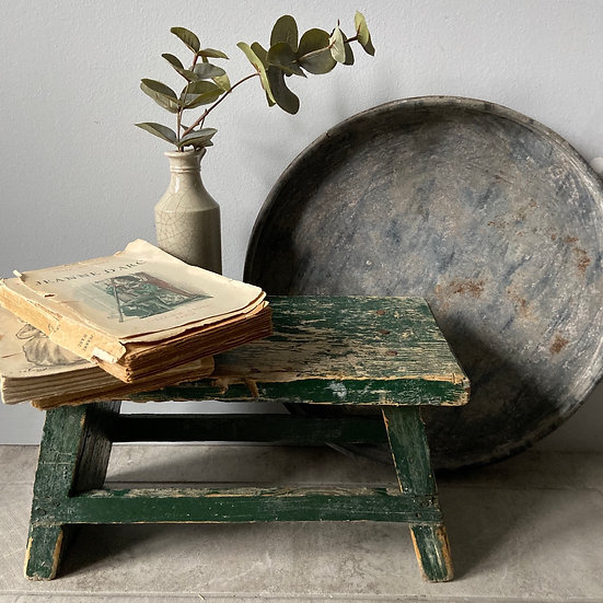 Gorgeous Vintage Green Chippy Paint Stool