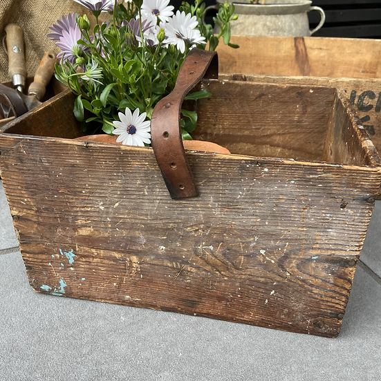 Deep French Vintage Tool Box with Leather Handle