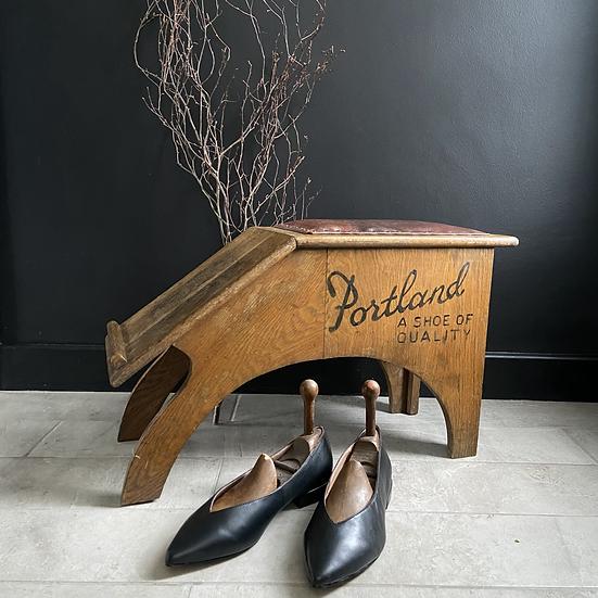 Rare Vintage Oak Portland Shoes, Shoe Shop Stool