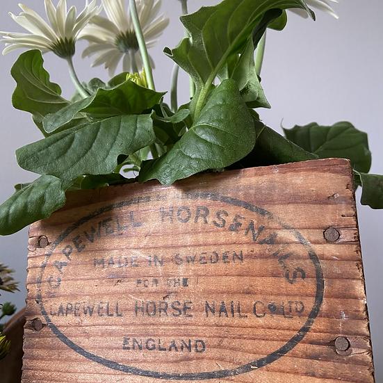 An Interesting Wooden Vintage Horsenails Box