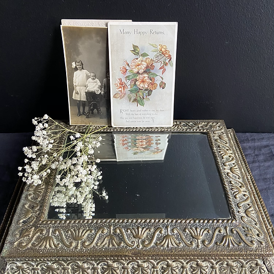 Vintage Brass and Mirror Display Plinth/Box