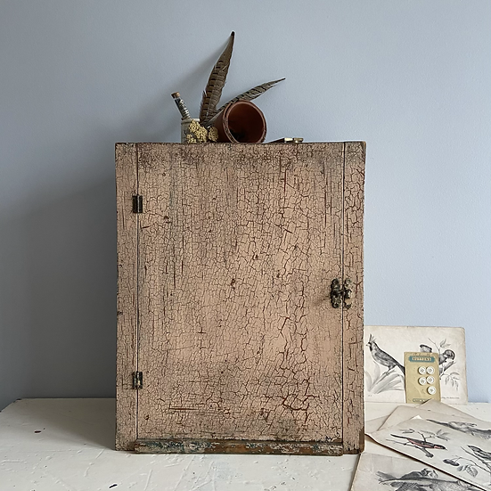 Vintage Scratch Built Wall Cabinet with Glorious Genuine Aged Crackle Paint