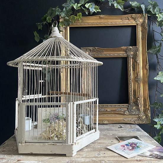 Vintage French Chippy Paint Birdcage