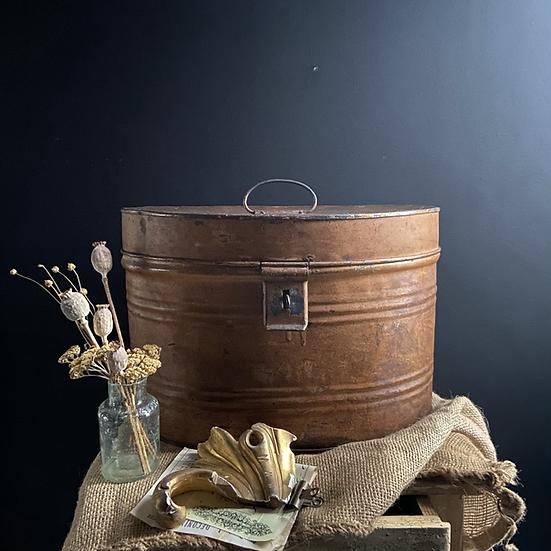 Faux Wood Metal Toleware Victorian Hat Box