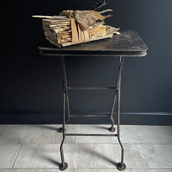 Vintage Metal Folding Side Table With a Stunning Patina