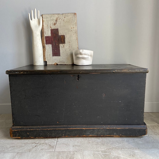 Vintage Black Trunk With Internal Candle Box