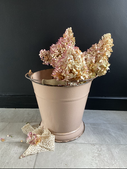 Vintage Pink Enamel Bucket #3