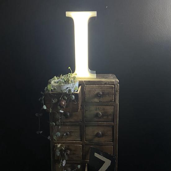 Vintage Illuminated Shop Sign Letter I