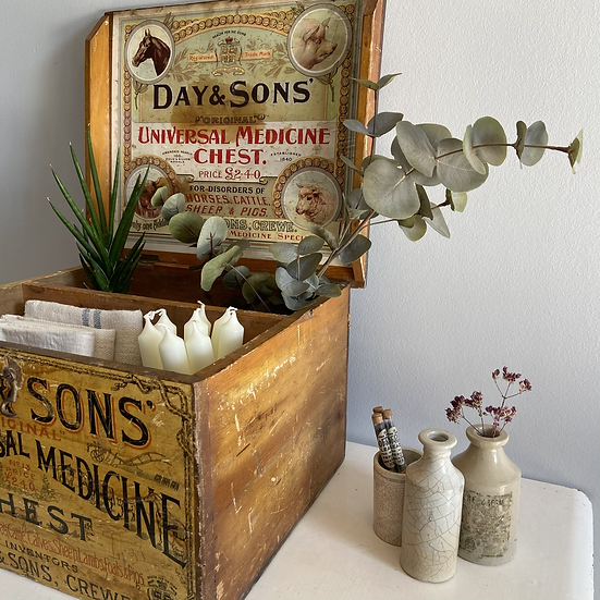 Day & Sons Stock Breeders Medicine Advertising Chest c.1920's