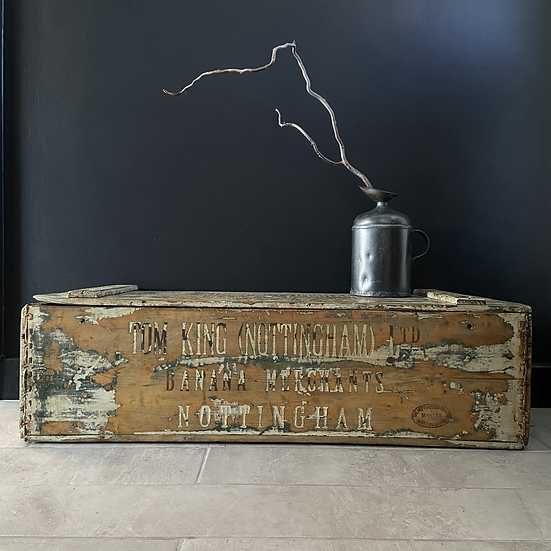 A Glorious Vintage Banana Crate/Trunk with Original Lid & Typography