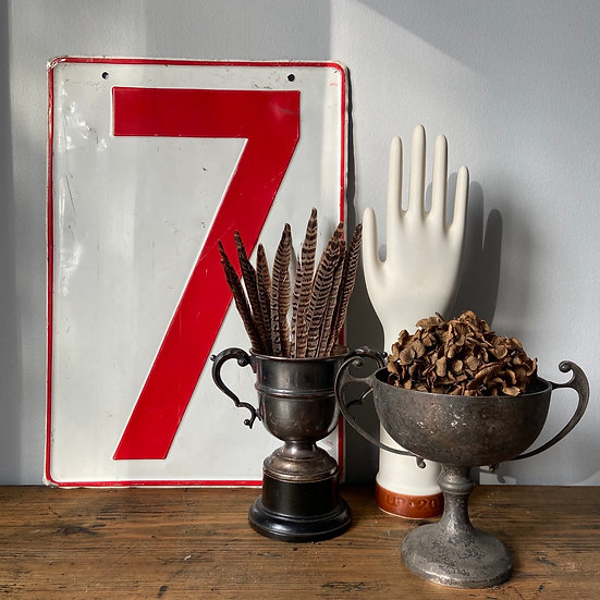 Vintage Large Metal Scoreboard Number 7
