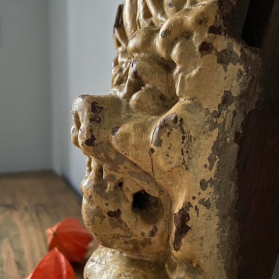 Antique French Wooden Lions Head Corbel