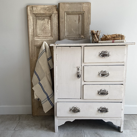 Unusual Vintage Painted Cupboard/Chest of Drawers