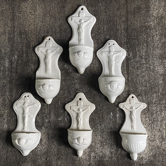 White Ceramic French Holy Water Fonts