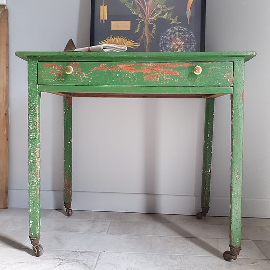 Stunning Green Antique Table with Old Chippy Paint