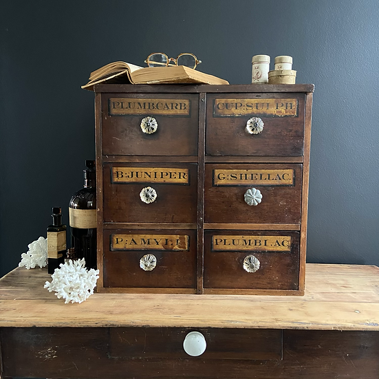 Antique Mid 19th Century Genuine Apothecary Drawers