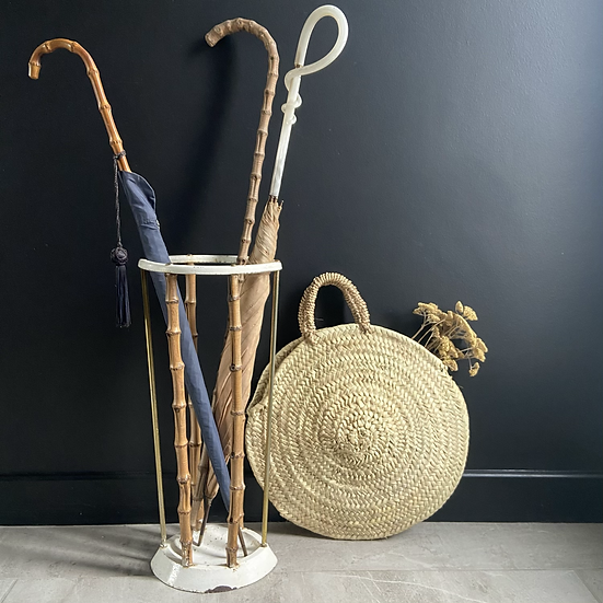 Late Victorian  Cast Iron and Bamboo Umbrella Stand