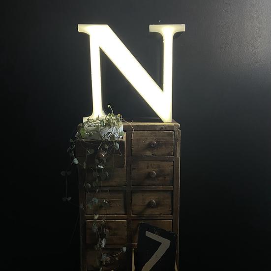 Vintage Illuminated Shop Sign Letter N
