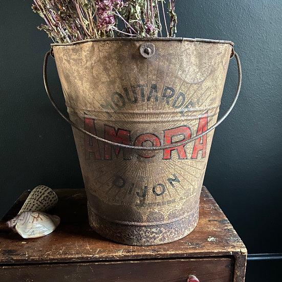 Vintage Rustic French Mustard Bucket
