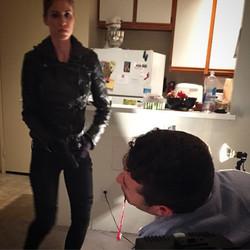 Nicole & Kylee! Fake blood and battles on set! #moviemaking #dreams #live & joy!