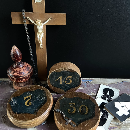 Vintage Wooden Hand Painted Church Pew Marker No. 30